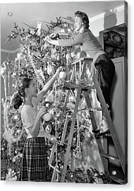 1950s Mother And Daughter Decorating Acrylic Print