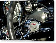 1957 Chevrolet Belair Steering Wheel Acrylic Print by Jill Reger