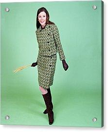 1960s Young Woman Modeling Green Wool Acrylic Print