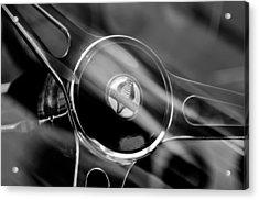 1965 Ford Mustang Cobra Emblem Steering Wheel Acrylic Print by Jill Reger