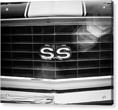 1969 Chevrolet Camaro Rs-ss Indy Pace Car Replica Grille Emblem Acrylic Print by Jill Reger