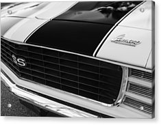 1969 Chevrolet Camaro Rs-ss Indy Pace Car Replica Grille - Hood Emblems Acrylic Print by Jill Reger