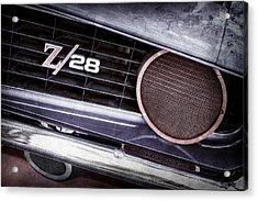 1969 Chevrolet Camaro Z28 Grille Emblem Acrylic Print by Jill Reger
