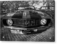 1969 Chevy Camaro Ss Painted Bw Acrylic Print