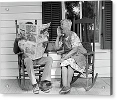 1970s Elderly Couple In Rocking Chairs Acrylic Print