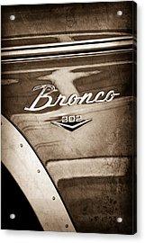 1972 Ford Bronco Emblem Acrylic Print