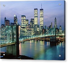1980s New York City Ny Downtown Skyline Acrylic Print