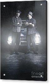 2 Male Gangsters Meeting In Dark Alleyway Acrylic Print
