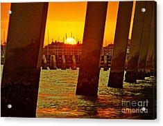2013 First Sunset Under North Bridge 3 Acrylic Print by Lynda Dawson-Youngclaus
