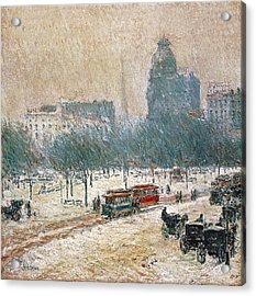 Winter In Union Square Acrylic Print by Childe Hassam