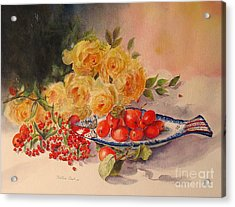 Acrylic Print featuring the painting A Berry Or Two by Beatrice Cloake