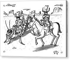 A Cowboy Rides A Horse Next To Another Cowboy Who Acrylic Print