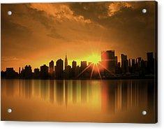 Acrylic Print featuring the digital art A Manhattan Sunset by Nina Bradica
