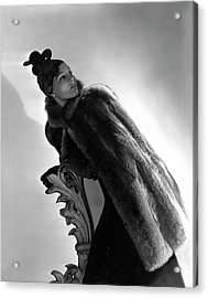 A Model Wearing A Fur Cape Acrylic Print by Horst P. Horst