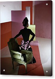 A Model Wearing A Schiaparelli Dress Acrylic Print by Horst P. Horst