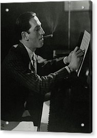 A Portrait Of George Gershwin At A Piano Acrylic Print by Edward Steichen