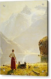 A Summer Day On A Norwegian Fjord Acrylic Print by Hans Dahl