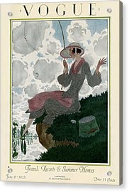 A Vogue Magazine Cover Of A Woman Acrylic Print by Pierre Brissaud