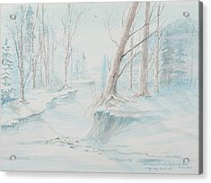 Acrylic Print featuring the painting A Winter Path by Cathy Long