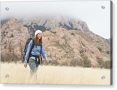 A Woman Hiking Below In The West Acrylic Print