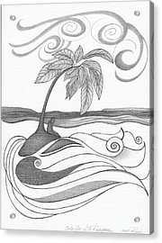 Abstract Art Tropical Black And White Drawing Who Am I To Disagree By Romi Acrylic Print by Megan Duncanson