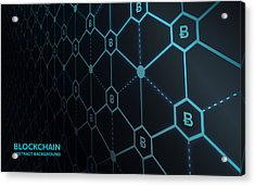 Abstract Blockchain Network Background Acrylic Print by AF-studio