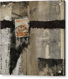 Abstract Japanese Collage Acrylic Print by Carol Leigh