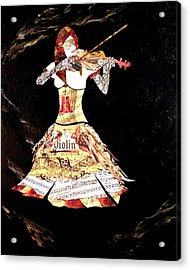 Steampunk Girl Abstract Painting Girl With Violin Fashion Collage Painting Acrylic Print