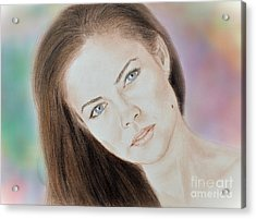 Actress And Model Susan Ward Blue Eyed Beauty With A Mole Acrylic Print by Jim Fitzpatrick