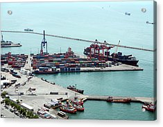 Aerial View Of Container Port And Ship Acrylic Print