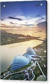 Aerial View Of Singapore With Sunset Acrylic Print by Loveguli
