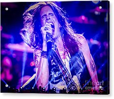 Aerosmith Steven Tyler Singing In Concert Acrylic Print by Jani Bryson