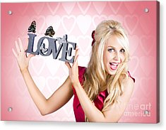 Affectionate Blonde Woman With Love Butterflies Acrylic Print