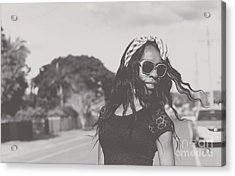 African American Woman With Highfashion Hairstyle Acrylic Print