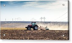 Agriculture Tractor Landscape Acrylic Print by Daniel Barbalata