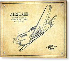 Airplane Patent Drawing From 1943-vintage Acrylic Print