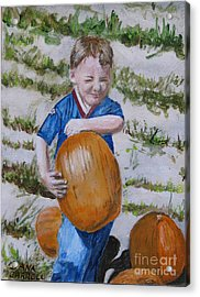 Alex And The Great Pumpkin 1488aa Acrylic Print by Dana Carroll