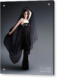 Alternative Fashion Model With Black Lace Dress Acrylic Print
