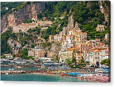 Amalfi City Acrylic Print by Gurgen Bakhshetsyan