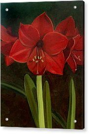 Acrylic Print featuring the painting Amaryllis by Nancy Griswold