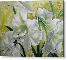 Amaryllis With Yellow Acrylic Print by Alfred Ng