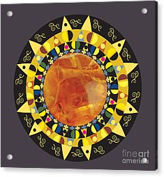 Amber Mandala Acrylic Print