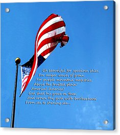 America The Beautiful - Us Flag By Sharon Cummings Song Lyrics Acrylic Print by Sharon Cummings