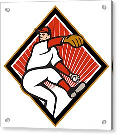 American Baseball Pitcher Throwing Ball Cartoon Acrylic Print by Aloysius Patrimonio