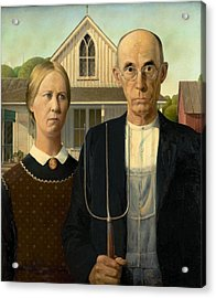 Acrylic Print featuring the painting American Gothic by Grant Wood