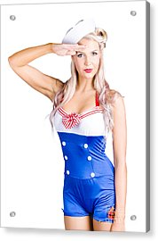 American Pinup Girl Sailor Saluting A Yes Sir Acrylic Print by Jorgo Photography - Wall Art Gallery