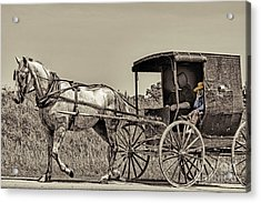 Amish Boy Tips Hat Acrylic Print by Robert Frederick
