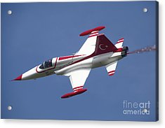 An F-5 Jet Of The Turkish Stars Acrylic Print by Timm Ziegenthaler