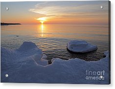 An Icy  Superior Sunrise Acrylic Print