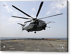 An Mh-53e Sea Dragon Prepares To Land Acrylic Print by Stocktrek Images